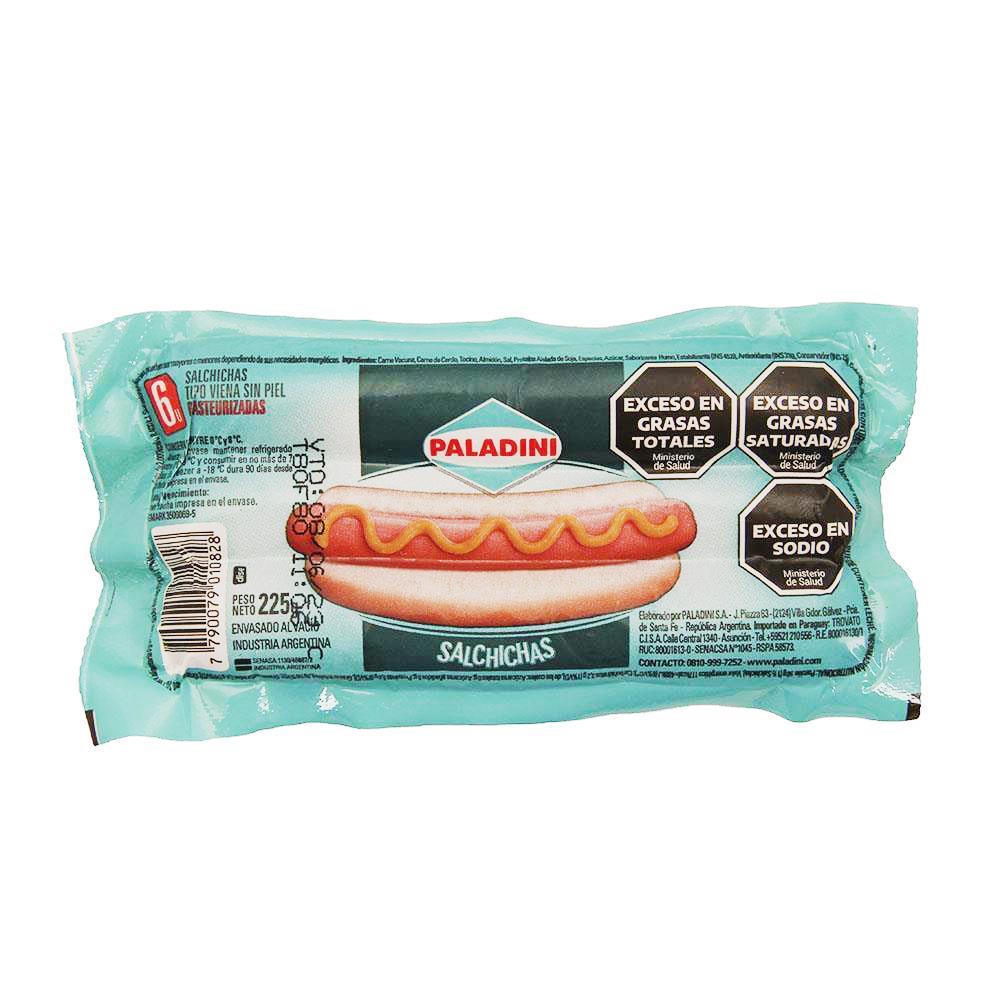 Salchicha PALADINI Paq 6 Uni 225 Grm