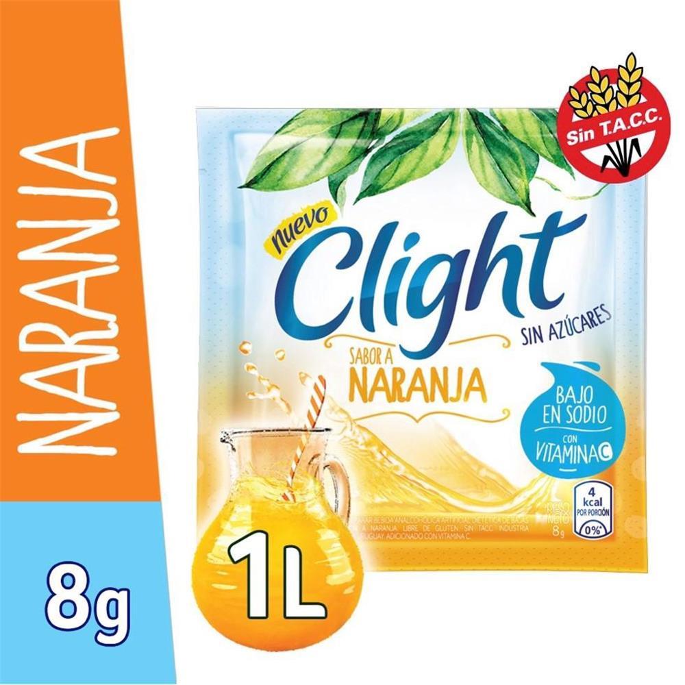 Jugo En Polvo CLIGHT Naranja Light Sobre 9.7 Gr