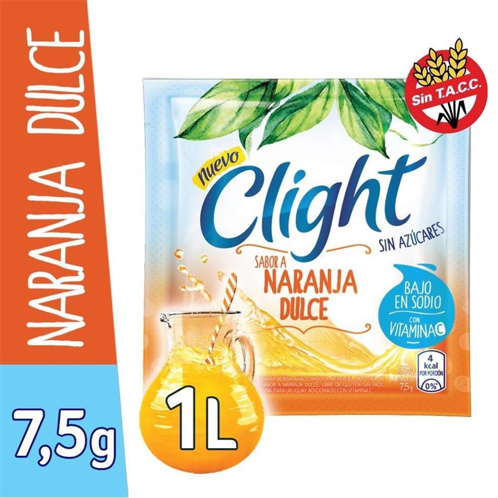 Jugo En Polvo CLIGHT Naranja Dulce Light   Sobre 8 Gr