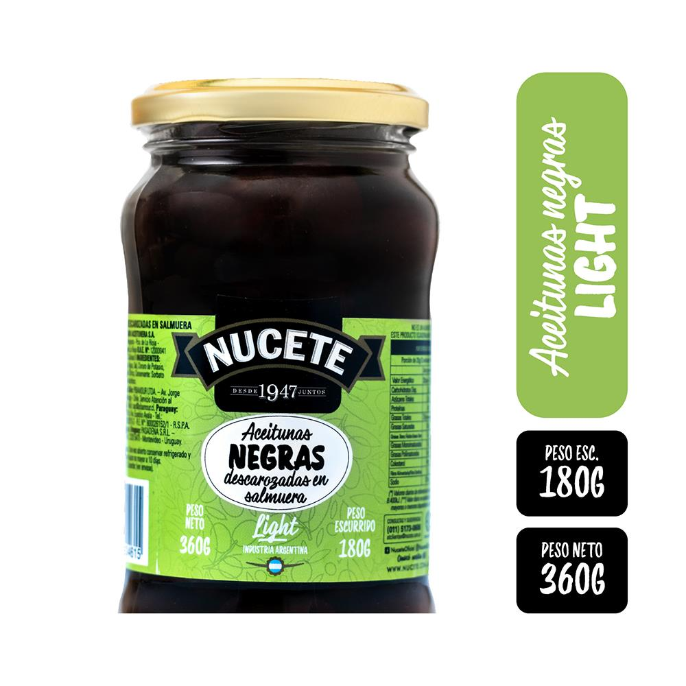 Aceitunas Negras NUCETE Descarozada Light Frasco 360 Gr