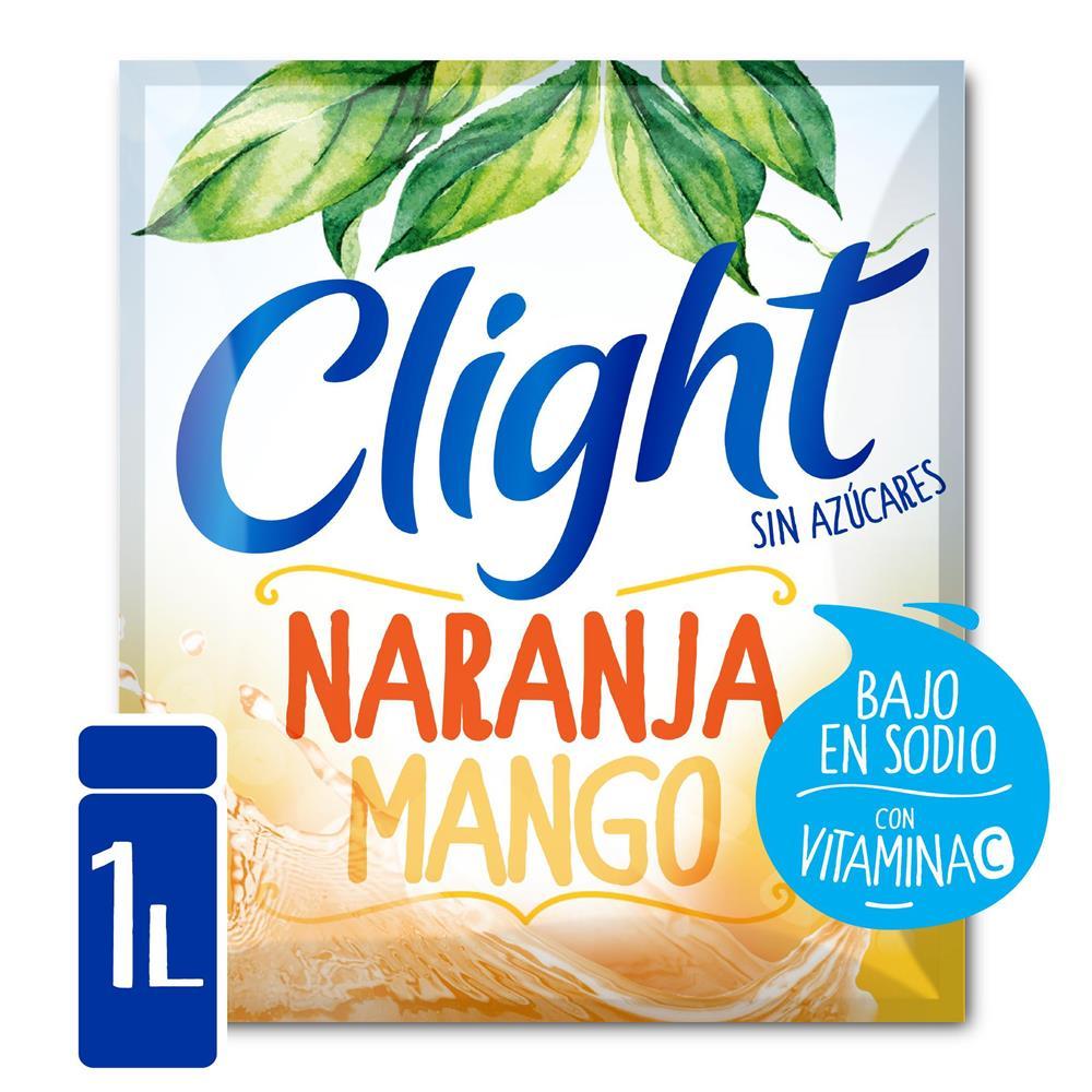 Jugo En Polvo CLIGHT Naranja Mango Light   Sobre 8.5 Gr