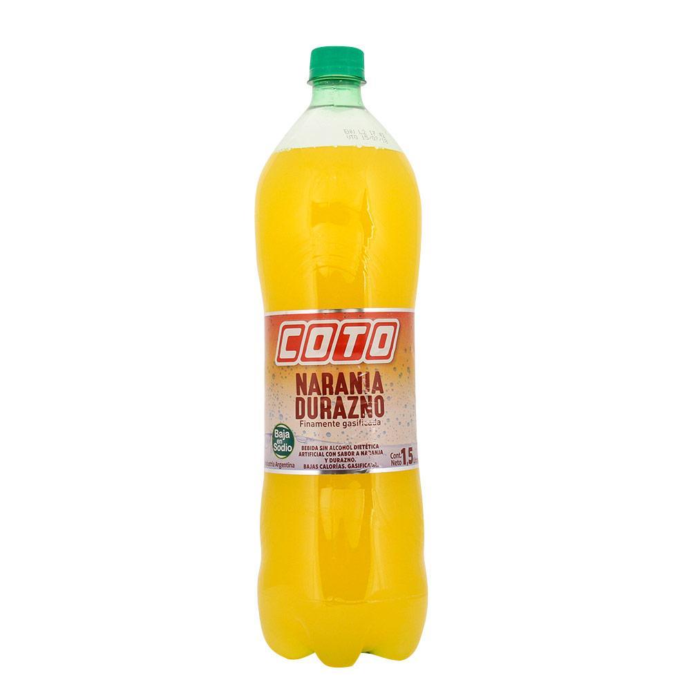 Agua Saborizada Coto Finamente Gasificada Naranja Y Durazno Botella 1.5 L