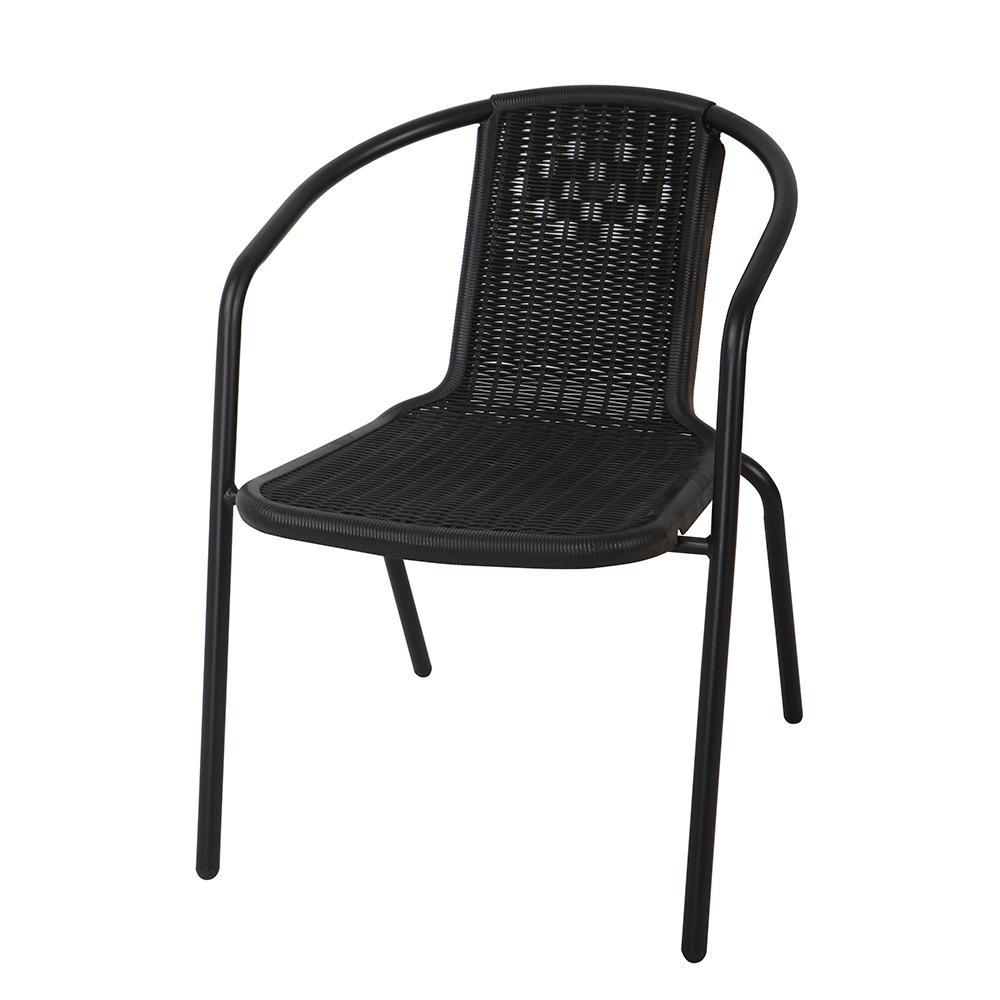 Silla De Plástico Rattan Negra . . . 55.5x50x71.5 Cm..