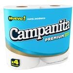 Papel Higiénico CAMPANITA Premium Doble Hoja Paquete 4 Unidades