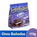 Galletitas Rellenas OREO C/Baño Chocolate Cja 204 Grm