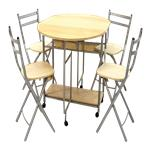Juego Comedor Rebatible Mesa Y 4 Sillas - Mesa: 110/40x84x80cm /  Silla: 42.5x42.5x82cm