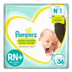 """Pañales PAMPERS """"RN+"""" 36 Unidades"""