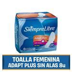 Toallas Femeninas SIEMPRE LIBRE Adapt Plus    Paquete 8 Unidades