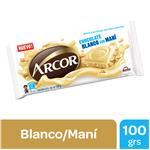 Chocolate ARCOR Blanco Con Mani  Paq 100 Grm