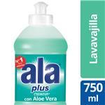 Lavavajilla ALA Cremoso 2 En 1 Aloe Vera Bot 750 Ml.