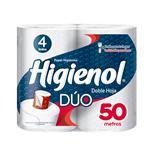 Papel Higiénico HIGIENOL Dúo Doble Hoja Paquete 4 Unidades