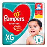 """Pañales PAMPERS Supersec """"XG"""" 8 Unidades"""