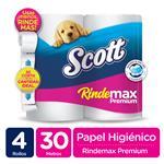 Papel Higiénico SCOTT Rindemax Doble Hoja Paquete 4 Unidades