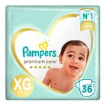 "Pañales  PAMPERS Premium Care   ""XG"" 36 Unidades"