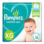 """Pañales Pampers Confort Sec """"Xg"""" 36 Unidades"""