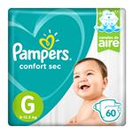"""Pañales  PAMPERS Confort Sec   """"G"""" 60 Unidades"""