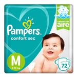 "Pañales  PAMPERS Confort Sec  ""M"" 72 Unidades"