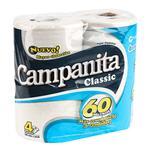 Papel Higiénico CAMPANITA Classic Simple Hoja Paquete 4 Unidades