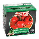 Pure De Tomate Coto Con Ajo Y Albahaca Tetrabrik 520 Gr