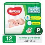 "Pañal ""P"" HUGGIES Active Sec Primeros 100 Días ""3.5 A 4 Kg"" 12 Uni"