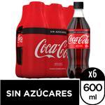 Gaseosa COCA COLA Sin Azúcar   Pack X 6 Unidades 600 Cc