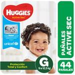 """Pañales  HUGGIES Active Sec  """"G"""" 44 Unidades"""