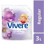 Enjuague Para Ropa VIVERE  Violetas Y Flores Blancas   Doypack 3 L