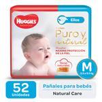 "Pañal ""M"" HUGGIES Natural Care ""5.5 A 9.5 Kg"" 52 Uni"