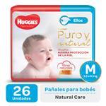 "Pañal ""M"" HUGGIES Natural Care ""5.5 A 9.5 Kg"" 26 Uni"