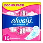 Toallas Femeninas ALWAYS Maxi Protección Con Alas Paquete 16 Unidades