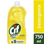 Detergente CIF ACTIVE GEL Limón   Botella 750 Ml
