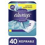 Protectores Diarios ALWAYS Respirables     40 Unidades
