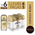 Cerveza Pilsener Amstel  Pack Latas 473 CC 6 Unidades