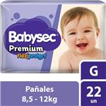 "Pañales  Babysec Premium  ""G"" 22 Unidades"